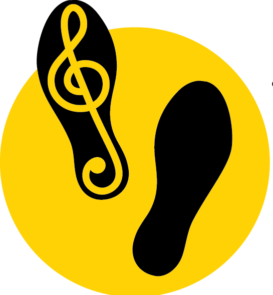 A yellow circle with two footprints. The left footprint features a treble clef.